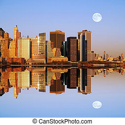 Manhattan skylines at sunset in a perfect symmetric...