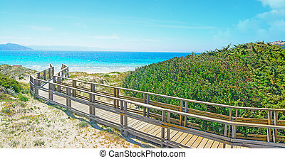 wooden boardwalk by the shore in Capo Testa, Sardinia