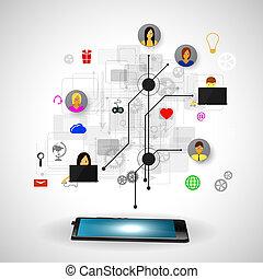 conceito, rede,  social