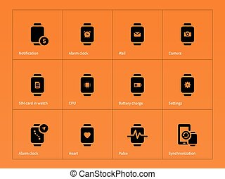 SIM card and CPU in watch icons on orange background. Vector...
