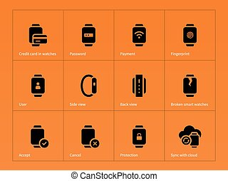 Smart gadget and payment icons on orange background Vector...