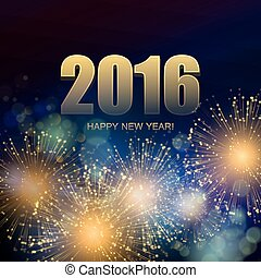 Vector Holiday Fireworks Background Happy New Year 2016