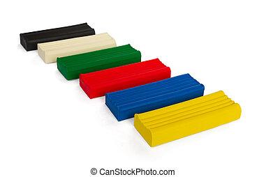 Plasticine - Set of coloured plasticine bricks isolated on...