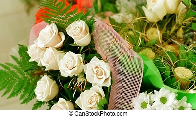 Bouquet Of White Roses - In the heap is a lot of beautiful...