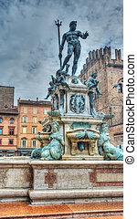tritón, estatua, en, Bolonia, en, hdr,