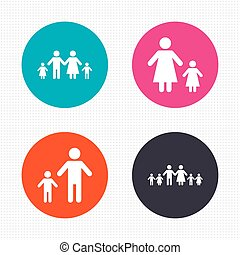 Family with two children sign. Parents and kids. - Circle...