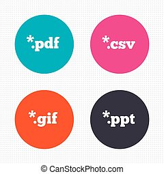 Document signs File extensions symbols - Circle buttons...