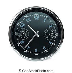 wall clock with hydrometer and thermometer - Black wall...