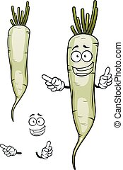 Daikon or white radish vegetable character - Happy daikon or...
