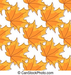 Autumnal orange maple leaves seamless pattern