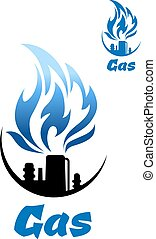 Natural gas refinery factory icon with nozzle of industrial...