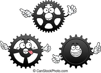 Funny cartoon cogwheels, gears and pinions