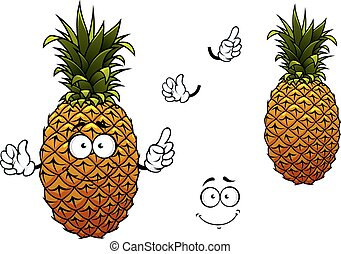 Cartoon yellow ripe pineapple fruit - Ripe yellow pineapple...
