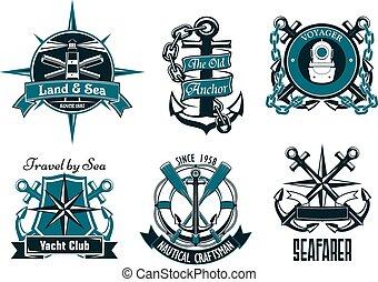 Retro, marina, y, náutico, heráldico,...