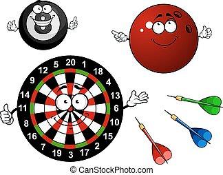 Dartboard, bowling and billiard sport items