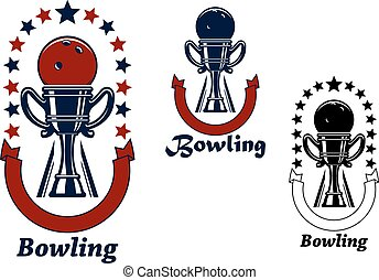 Bowling game icons with trophy cup