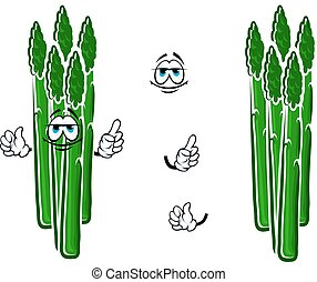 Asparagus vegetable spears cartoon character - Fresh cartoon...