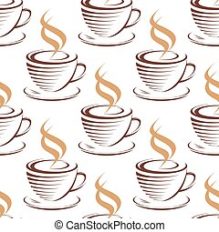 Steaming coffee cups seamless pattern with brown cups and...