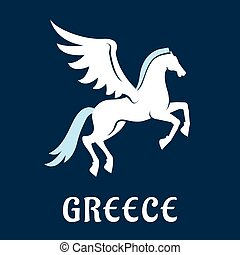 Flat greece Pegasus horse icon - Pegasus symbol in flat...