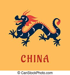 Traditional chinese dragon in flat style