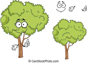 Cartoon isolated green tree character - Cartoon green ree...