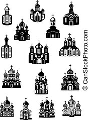 Temple, church fane and shrine icons with facades of...