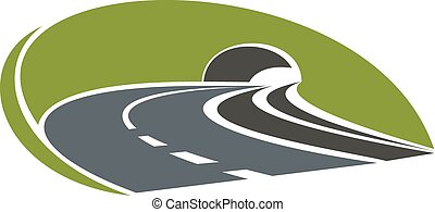 Icon of highway road with tunnel - Icon of highway road...