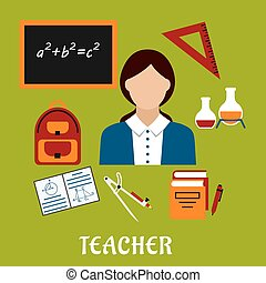 School teacher with education icons