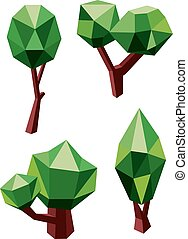 Trees icons composed by green and brown polygons - Geometric...