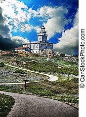 lighthouse under a dramatic sky,Sardinia