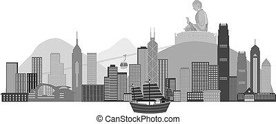 Hong Kong Skyline and Buddha Statue Illustration - Hong Kong...