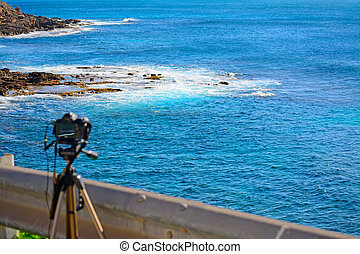 dslr camera on tripod by the sea in Alghero, Sardinia