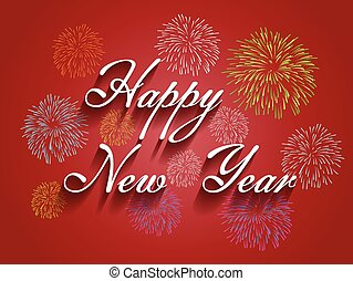 Beautiful text Happy New Year 2016 with fireworks...