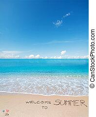 tropische, sommer, geschrieben, herzlich willkommen, sandstrand