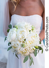 bridal bouquet of white peonies - rustic bridal bouquet of...