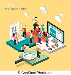 business startup concept - flat 3d isometric design of...