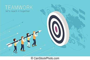 teamwork concept - flat 3d isometric design of teamwork...