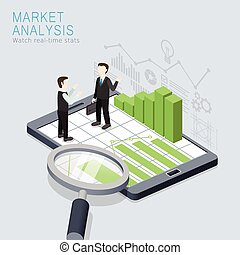market analysis concept - flat 3d isometric design of market...