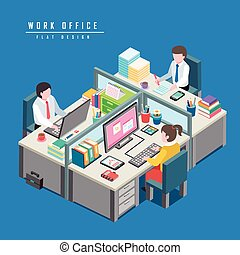work office concept - flat 3d isometric design of work...