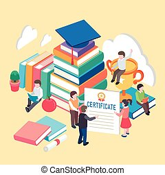 knowledge is power concept - flat 3d isometric design of...