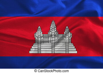 Cambodia flag on fabric silk texture