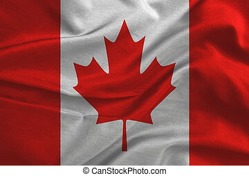 Canada flag on silk fabric