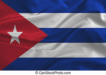 Waving flag of Cuba. Flag has real fabric texture