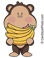 Monkey eat banana