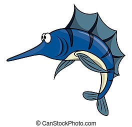 Marlin fish cartoon illustration