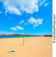 beach volley net in Porto Pollo shore, Sardinia