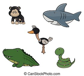 Wild animal : Monkey,Shark,Ostrich,Crocodille and snake