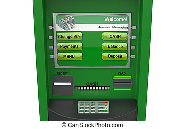 ATM - Cash machine closeup isolated on white background