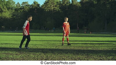 Win-Lose Game - Tracking shot of frontman scoring a penalty...