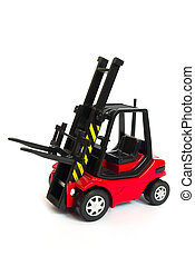 red toy forklift - red toy electric forklift isolated on...